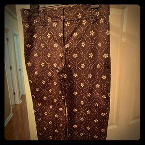 LOFT brown embroidered crop pants